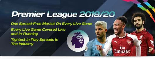 Premier League 2019/20 - One Spread-Free Market On Every Live Game |	Every Live Game Covered Live and In-Running | Tightest In Play Spreads In The Industry